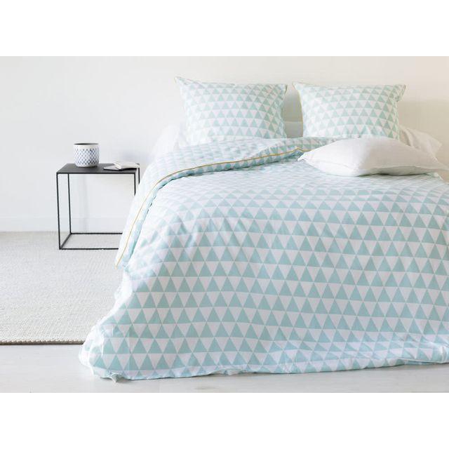 haveli republic parure housse de couette taies 100 coton triangle c ladon passepoil. Black Bedroom Furniture Sets. Home Design Ideas