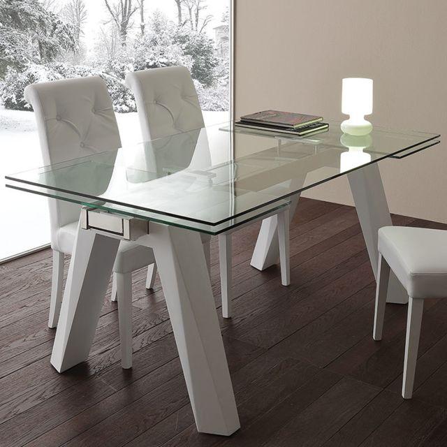 Nouvomeuble Table à manger extensible en verre et acier design Carla