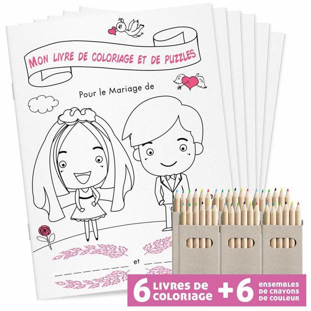 Wedding Livre De Coloriage Lot De 6 Avec Crayons De