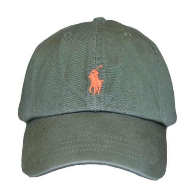 7971aa6cf01 Ralph Lauren - Casquette vert kaki logo orange pour homme Taille unique -  pas cher Achat   Vente Casquettes