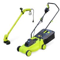 - Pack électrique VOLTR, tondeuse à gazon Ø32cm 1300W + débroussailleuse Ø20cm 250W, collecteur herbe, coupe bordures, ensemble tonte