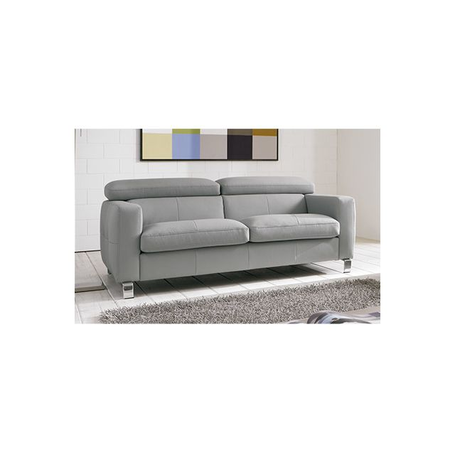 Canapé 2,5 places avec tétières réglables pieds métal - coloris gris