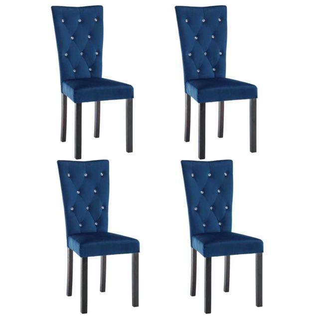 Icaverne Chaises de cuisine et de salle à manger collection Chaise de salle à manger 4 pcs Velours Bleu foncé