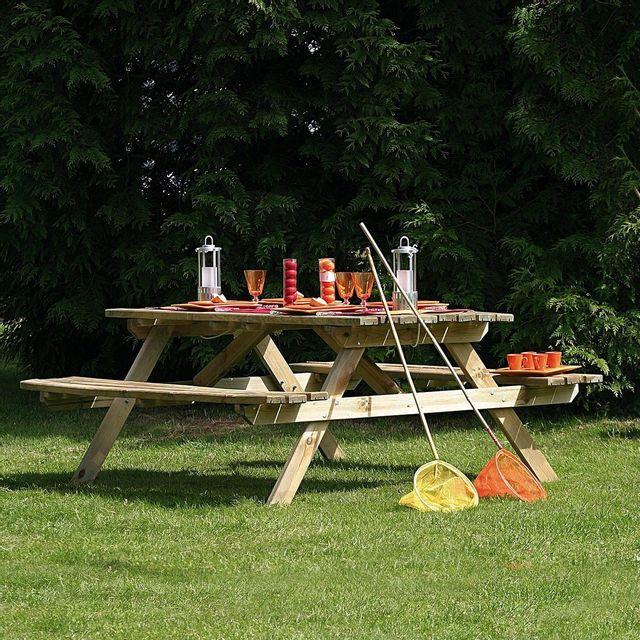 Cemonjardin - Table de pique-nique en bois Dimensions : L 180 x lg 150 x ht 70 cm En Pin sylvestre traité autoclave classe Iii