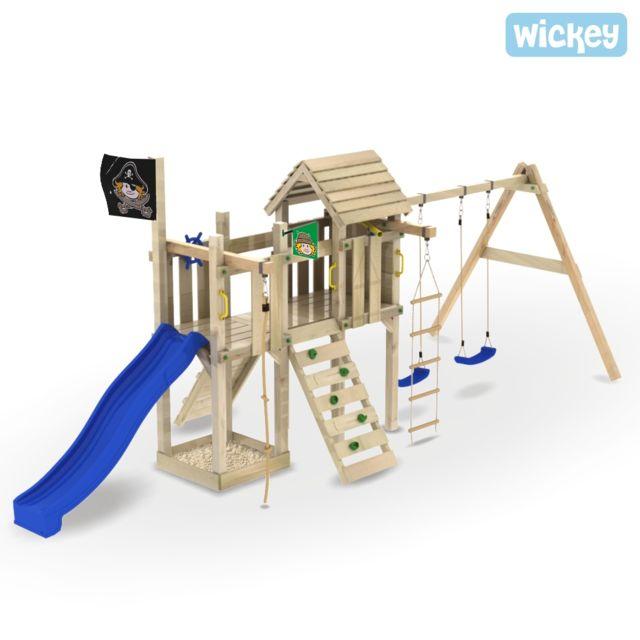 4ba8bf621e48f Wickey - Aire de jeux pour jardin Captain Woodfoot - pas cher Achat   Vente  Aire de jeux - RueDuCommerce