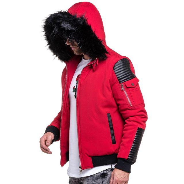 PROJECT X - Blouson homme fourrure street rouge simili cuir noir XL ... e25e623c987c