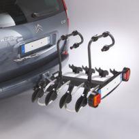 Porte-vélos sur plateforme, rabattable pour 4 vélos Montage immédiat sur la boule d'attelage Il permet de transporter un poids maximal de 60 Kgs Poids du porte-vélos: 24 Kgs L'installation est simplifiée grâce au système click-clack, la poigné