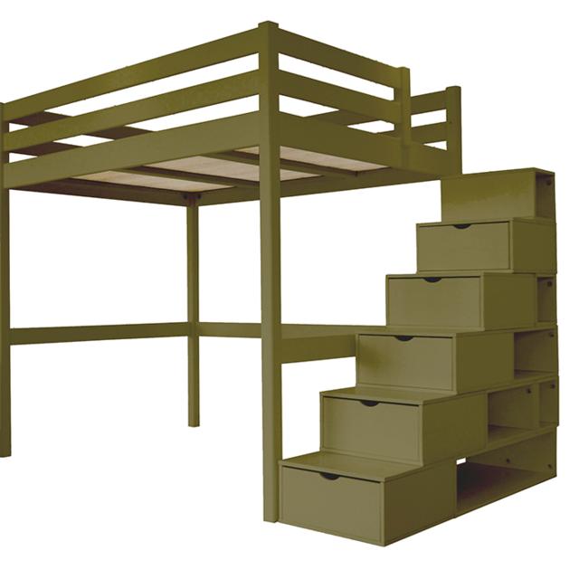 abc meubles lit mezzanine sylvia avec escalier cube pin massif taupe 120cm x 200cm pas. Black Bedroom Furniture Sets. Home Design Ideas