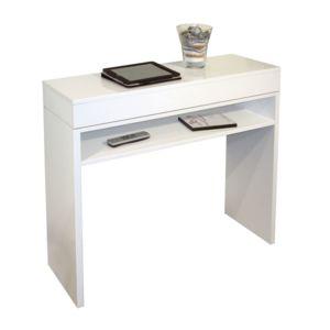 alin a laoula console avec plateau coulissant laqu e blanche pas cher achat vente consoles. Black Bedroom Furniture Sets. Home Design Ideas