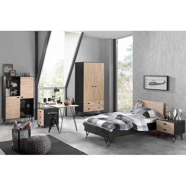 Comforium Ensemble 6 pièces pour chambre moderne avec lit 90x200 cm, chevet, armoire 2 portes, bureau, caisson et bibliothèque col