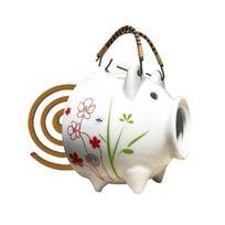 Boutique Nature - Encens d'été, Cochon de Jardin - Cochon en porcelaine pour spirales d'encens