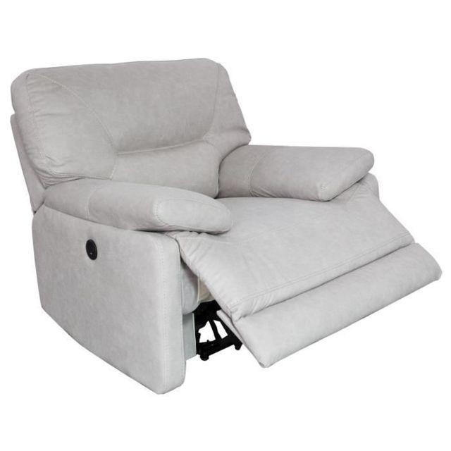FAUTEUIL ARTHUS Fauteuil de relaxation électrique en tissu beige clair - Classique - L 112 x P 98 cm