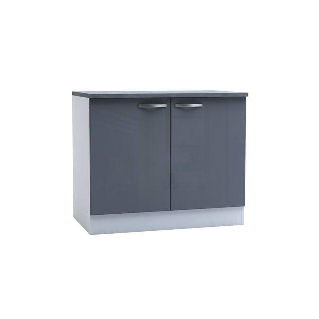 Meuble bas de cuisine 2 portes 100cm - coloris gris brillant