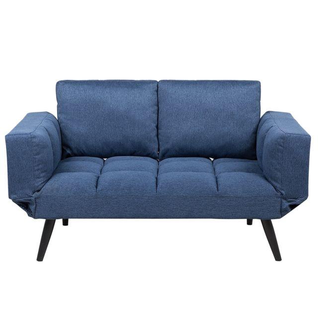 BELIANI Canapé-lit en tissu bleu marine BREKKE