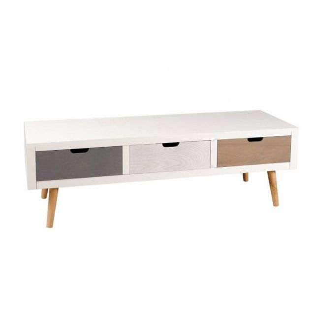 inside 75 meuble tv enzo 3 tiroirs blanc et bois style scandinave pas cher achat vente. Black Bedroom Furniture Sets. Home Design Ideas