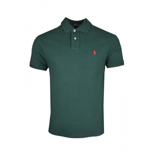 Ralph Lauren - Polo Ralph Lauren vert en piqué logo rouge slim fit pour  homme c7863f66b39