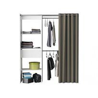 MARQUE GENERIQUE - Dressing extensible KYLIAN - L114/168cm - Blanc et gris