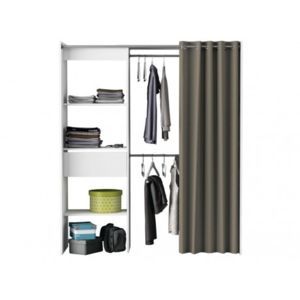 vente unique armoire dressing extensible kylian l114 168cm blanc et gris blanc gris. Black Bedroom Furniture Sets. Home Design Ideas
