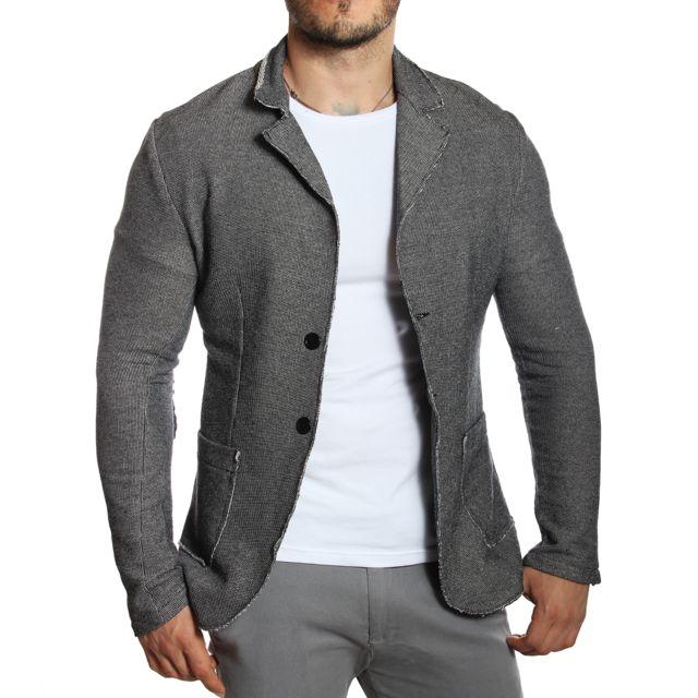 carisma blazer veste de costume grise en maille avec coudi res pas cher achat vente. Black Bedroom Furniture Sets. Home Design Ideas