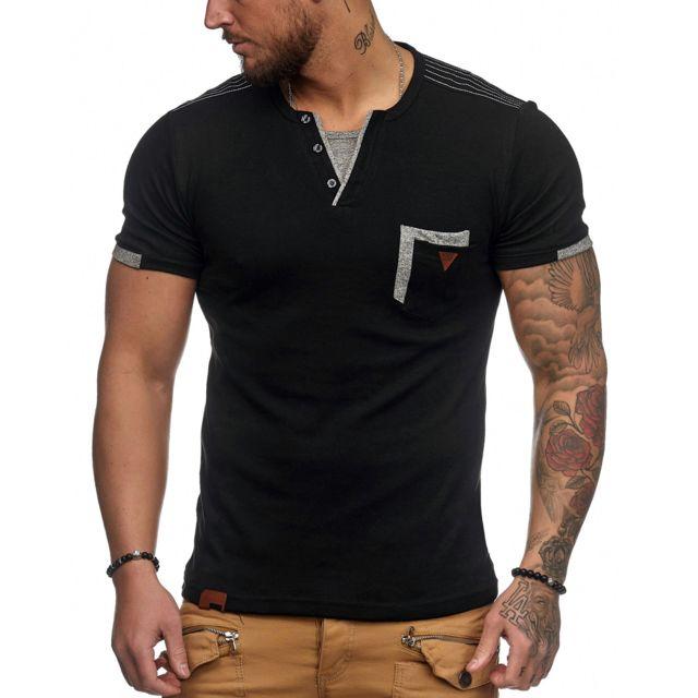 db6924ec8469 Violento - T-shirt fashion pour homme T-shirt 3291 noir XL - pas ...