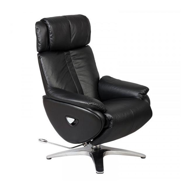 Dansmamaison Fauteuil de relaxation Cuir Noir - Gevas - L 84 x l 78 x H 111 cm