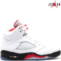 Jordan - Nike Air 5 Retro V Fire Red 136027-100 White/Black/Fire Red - Air 100% authentique