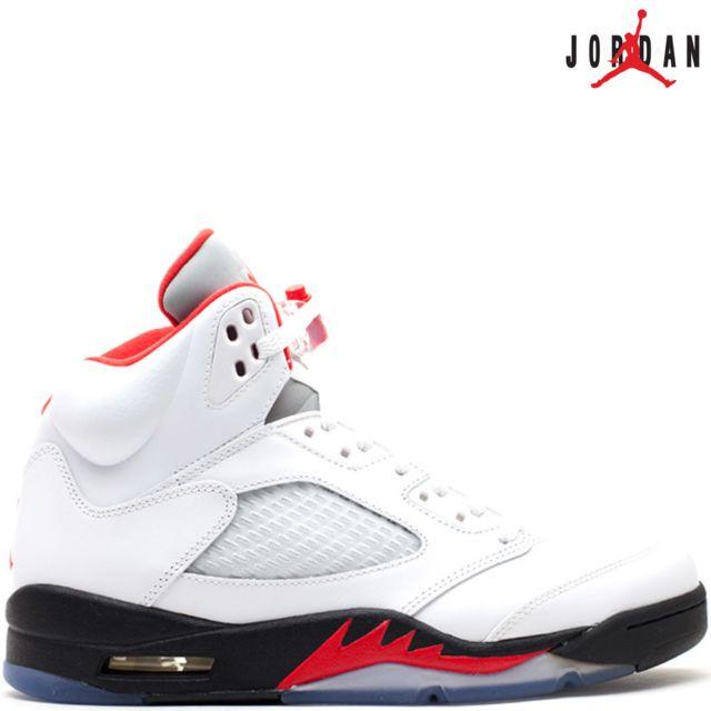 separation shoes 3e9af 8fd7a Jordan - Nike Air 5 Retro V Fire Red 136027-100 White Black Fire Red - Air  100% authentique Rouge - 43 - pas cher Achat   Vente Baskets homme - ...