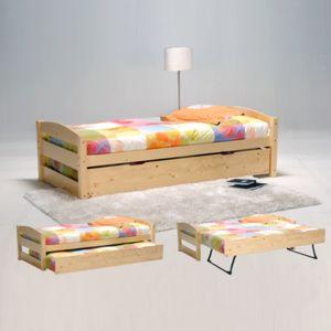 no name lit gigogne thomas 90x190 tiroir avec pieds pliants 2 sommiers vernis naturel. Black Bedroom Furniture Sets. Home Design Ideas