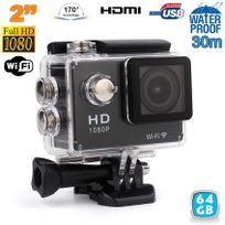 Yonis - Caméra sport étanche WiFi 2' Full Hd 1080p time lapse 170° noir 64Go