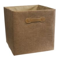 """Ordinett - Boîte Cube """"Brown Sugar"""" Lin 32 x 32 x 32 cm"""