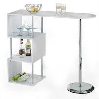 Idimex - Table haute de bar 3 tablettes noir