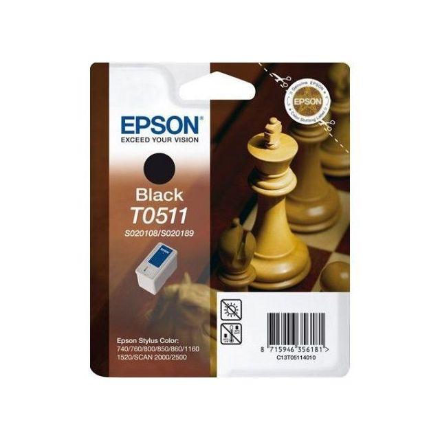 EPSON Cartouche d'encre T0511 Echiquier - Noire S020108 + S020189, QuickDry