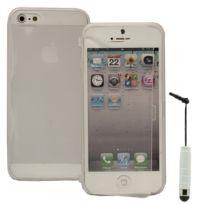 Vcomp - Housse Etui Coque silicone gel Portefeuille Livre rabat pour Apple iPhone 5/ 5S/ Se + mini stylet - Transparent