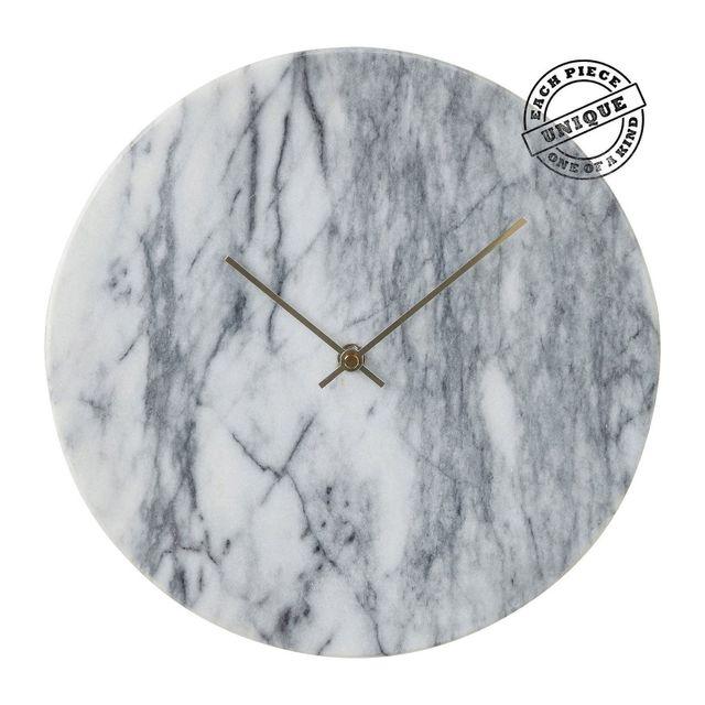 Karedesign - Horloge murale Desire marbre blanc Kare Design Gris - 4.5cm x 30cm x 30cm