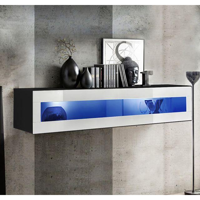 Design Ameublement Armoire mural modèle Krista H150CR 150x30cm, noir et blanc