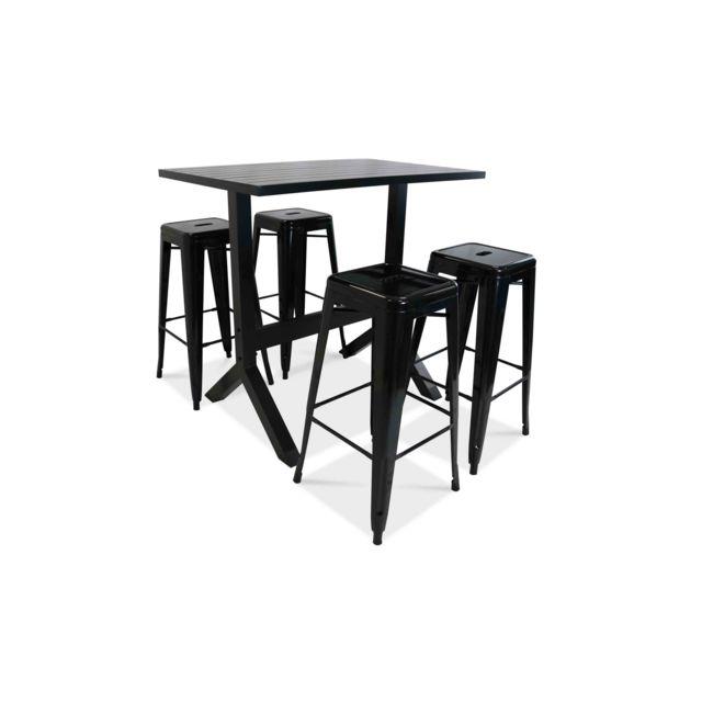 OVIALA - Ensemble table haute et 4 tabourets de jardin Gris - pas ...