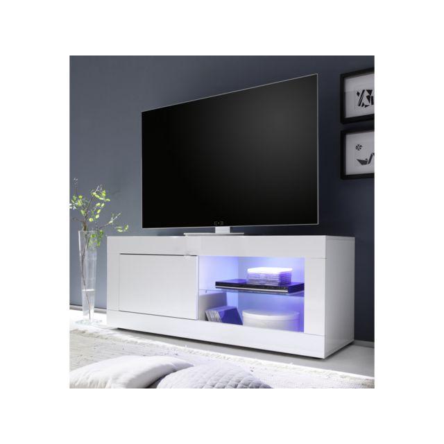 Subleem Meuble Tv petit 1 porte Favara blanc laqué brillant blanc laqué brillant