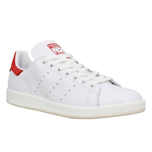 Adidas - Stan Smith Luxe cuir Femme-40-Blanc + Rouge - pas ...