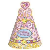 Unique Party - Chapeaux anniversaire princesse x8