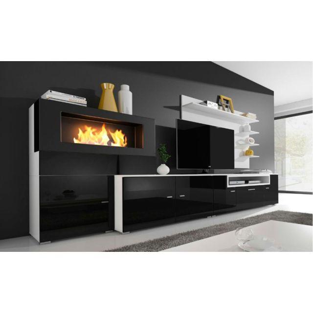 Comfort ensemble meuble tv chemin e bio thanol blanc - Cheminee murale ethanol pas cher ...