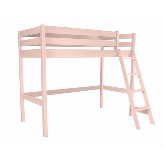 abc meubles lit haut abc avec chelle incline rose pastel 90cm x 200cm pas cher achat vente lit enfant rueducommerce - Lit Haut