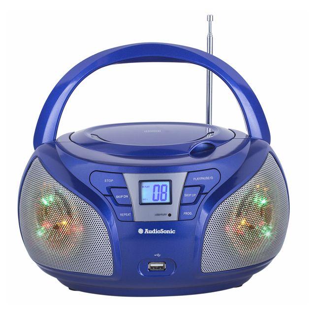 audiosonic radio cd usb portable disco led bleu cd1561. Black Bedroom Furniture Sets. Home Design Ideas