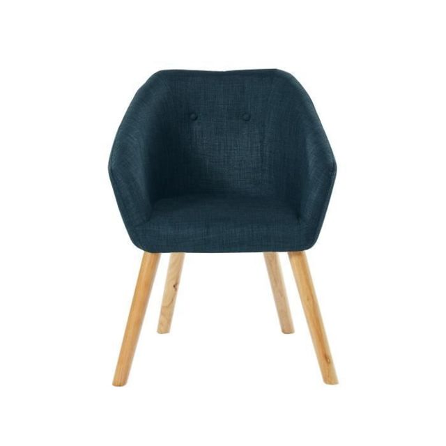 FAUTEUIL HILDA Fauteuil - Tissu bleu canard - Scandinave - L 62 x P 60 cm