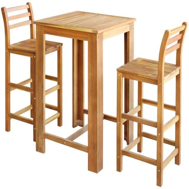 Vidaxl Table et Chaises de Bar 3 pcs Bois d'Acacia Massif Mobilier de Bar