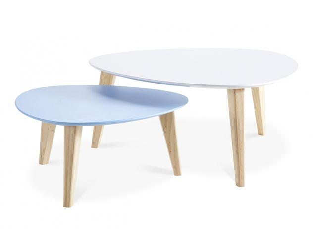Lot De 2 Tables Basses Scandinave Gigognes En Bois