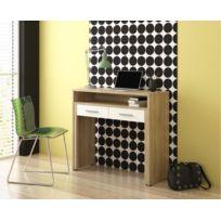 Home Innovation - Table de bureau à rallonge, console de studio, finition chêne/blanc