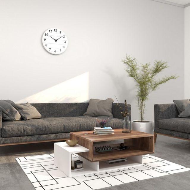 Homemania Table Basse Gemini, Porte-Revues - avec Compartiments - pour Salon - Blanc en Bois, 100 x 60 x 35 cm