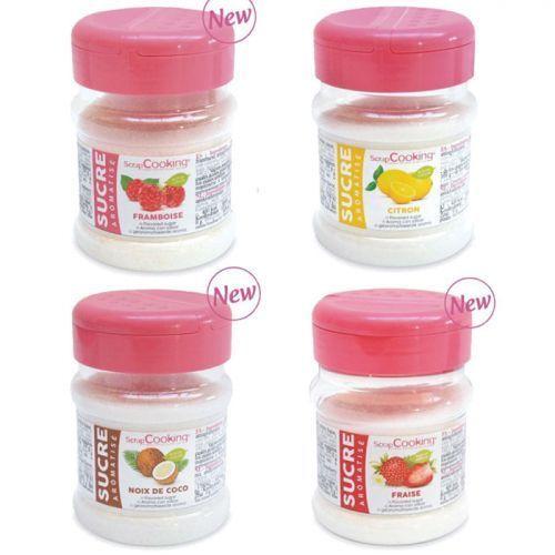 Scrapcooking Kit 4 sucres aromatisés - fraise, framboise, citron, coco