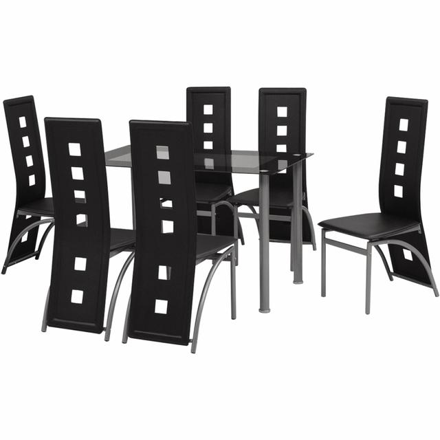 Vidaxl Ensemble à dîner sept pièces Noir
