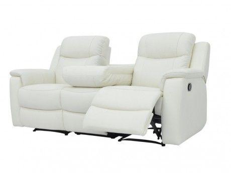 Canapé 3 places relax Evasion en cuir - blanc ivoire